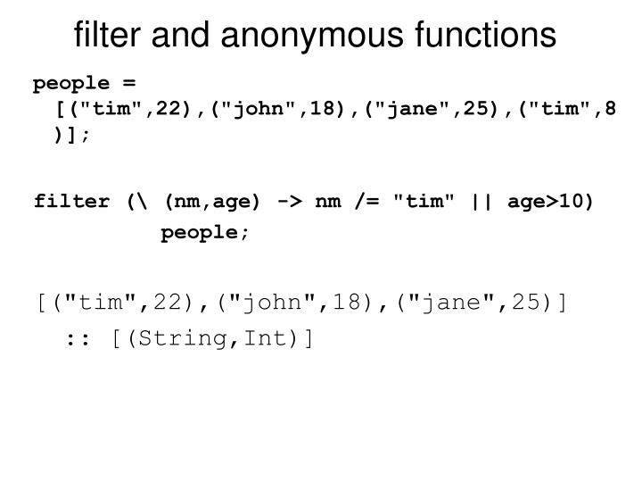 filter and anonymous functions