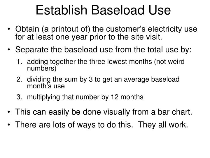 Establish Baseload Use