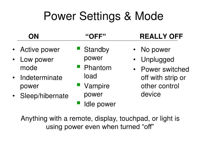 Power Settings & Mode