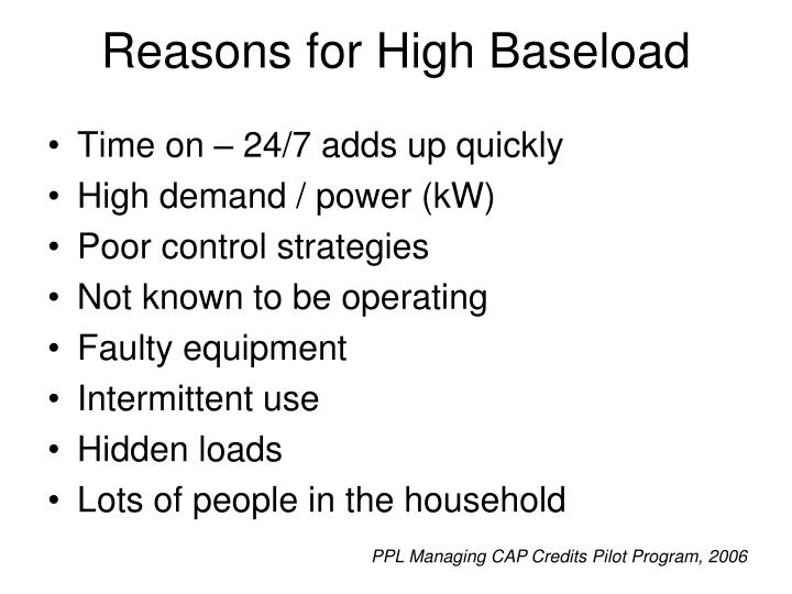 Reasons for High Baseload