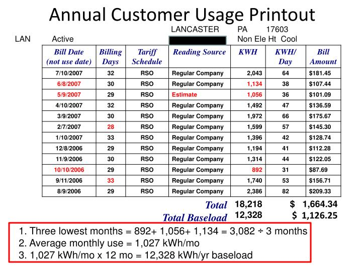 Annual Customer Usage Printout