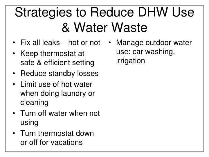Strategies to Reduce DHW Use & Water Waste