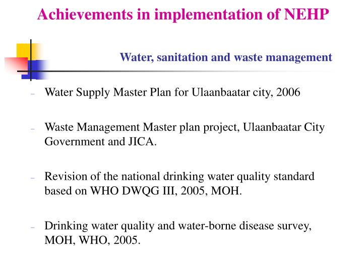 Achievements in implementation of NEHP