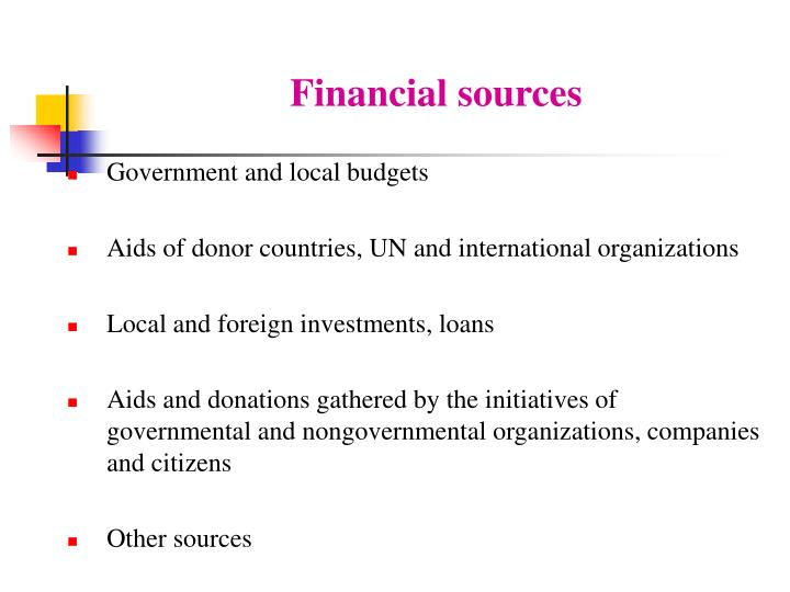Financial sources