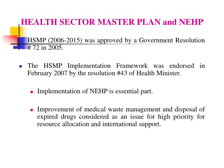 HEALTH SECTOR MASTER PLAN and NEHP