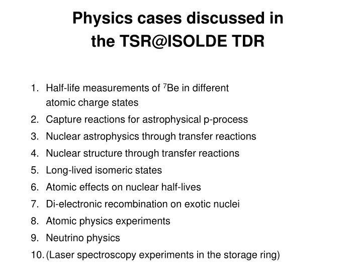 Physics cases discussed in