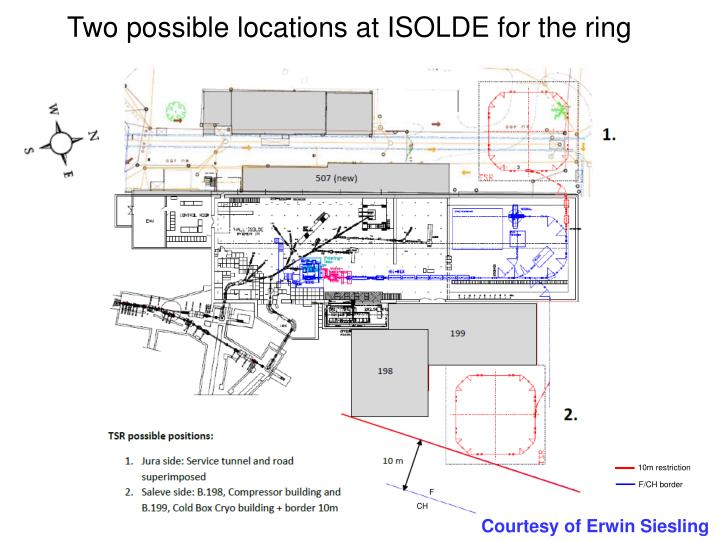 Two possible locations at ISOLDE for the ring