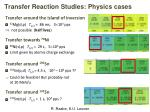 transfer reaction studies physics cases