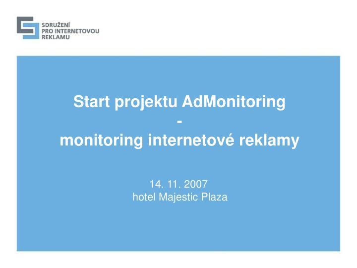 Start projektu AdMonitoring