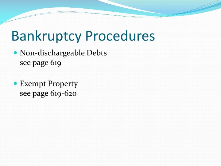 Bankruptcy Procedures