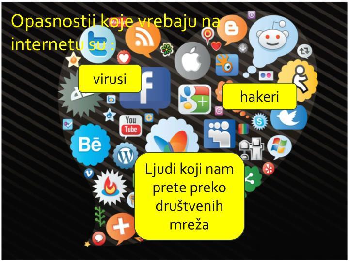 Opasnostii koje vrebaju na internetu su :