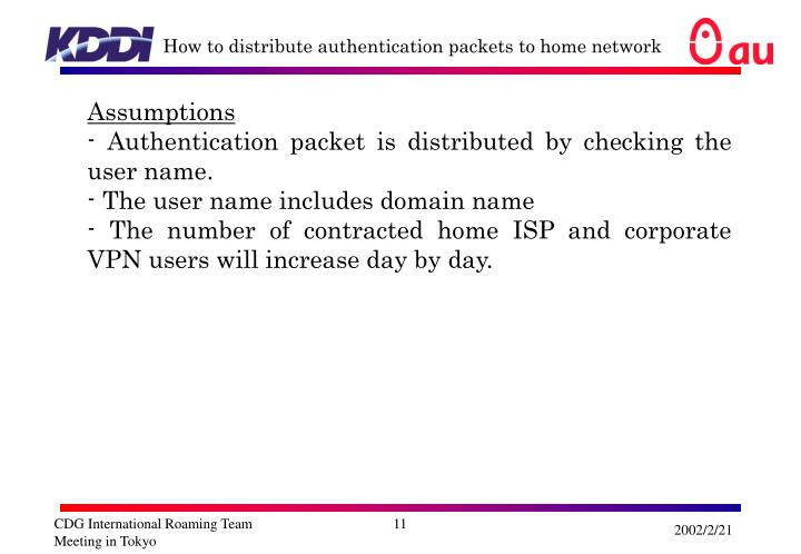 How to distribute authentication packets to home network