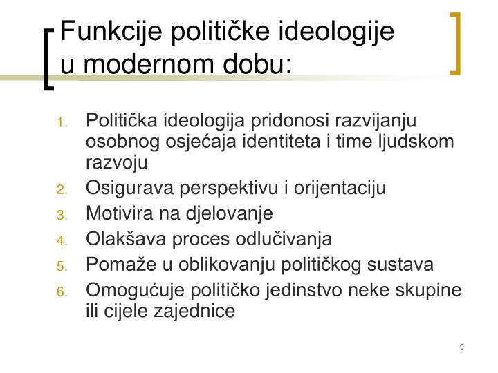 Funkcije političke ideologije