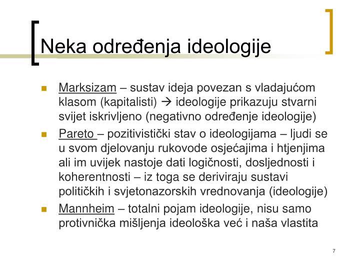 Neka određenja ideologije