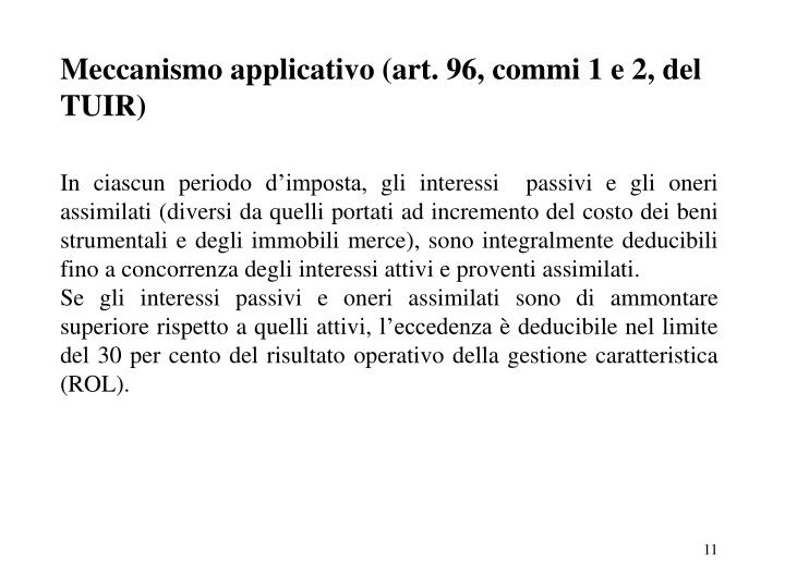 Meccanismo applicativo (art. 96, commi 1 e 2, del TUIR)