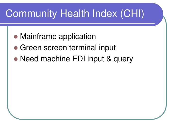 Community Health Index (CHI)