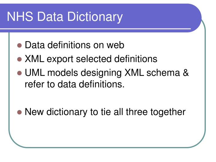 NHS Data Dictionary