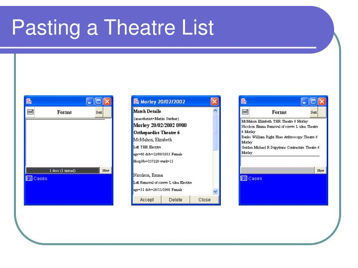 Pasting a Theatre List