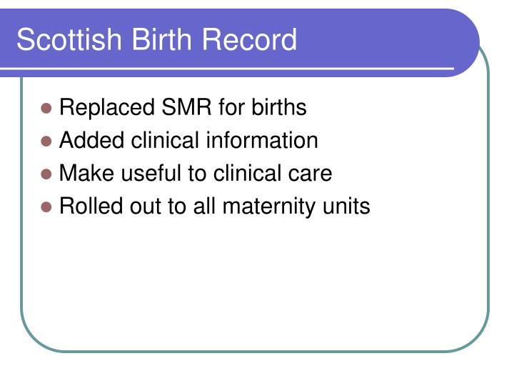 Scottish Birth Record