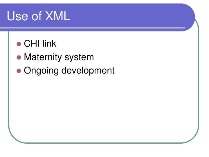 Use of XML