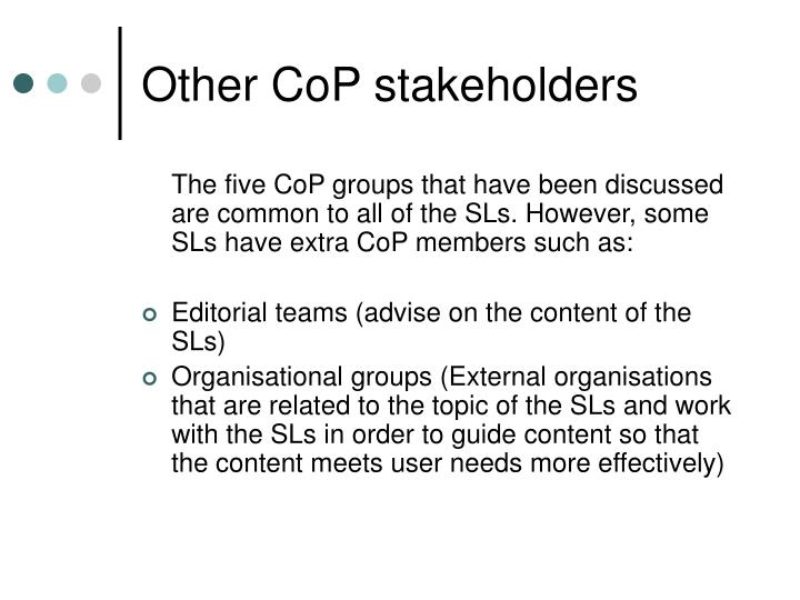 Other CoP stakeholders