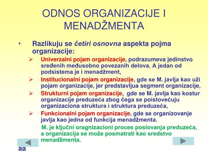 ODNOS ORGANIZACIJE I MENADŽMENTA