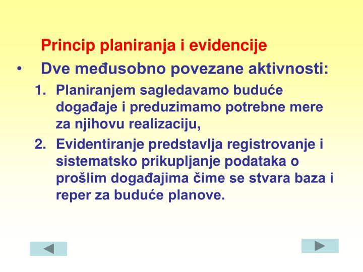 Princip planiranja i evidencije