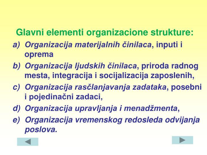 Glavni elementi organizacione strukture: