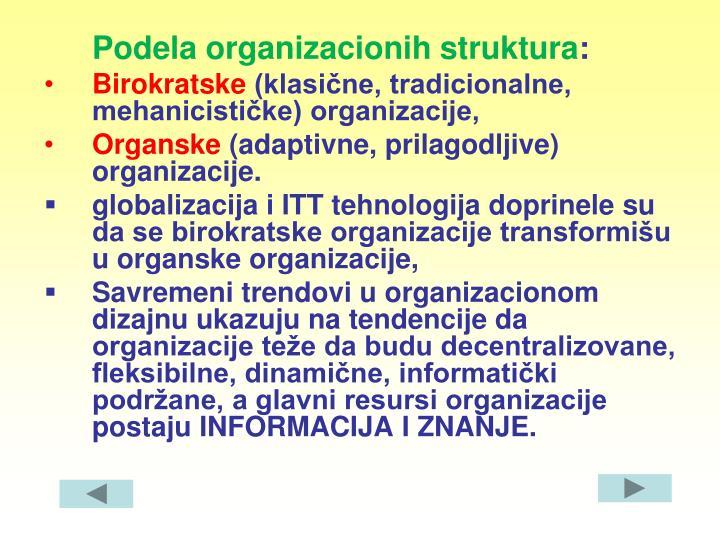 Podela organizacionih struktura