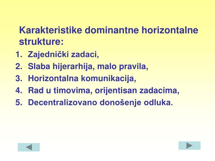 Karakteristike dominantne horizontalne strukture: