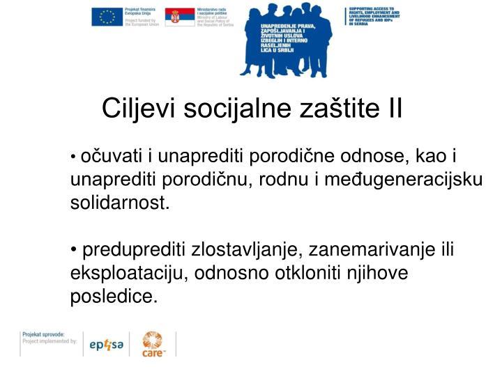 Ciljevi socijalne zaštite II