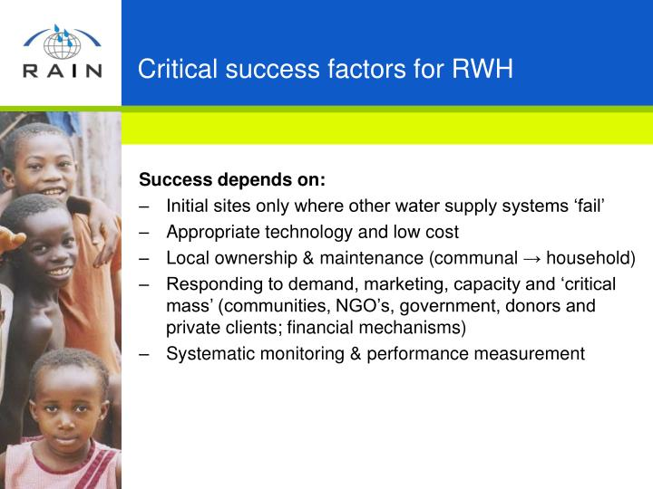 Critical success factors for RWH