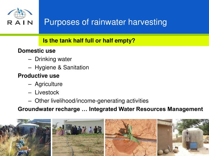 Purposes of rainwater harvesting