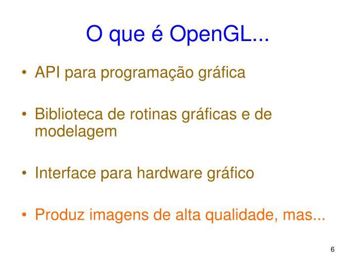 O que é OpenGL...