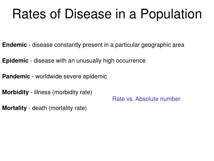 Rates of Disease in a Population