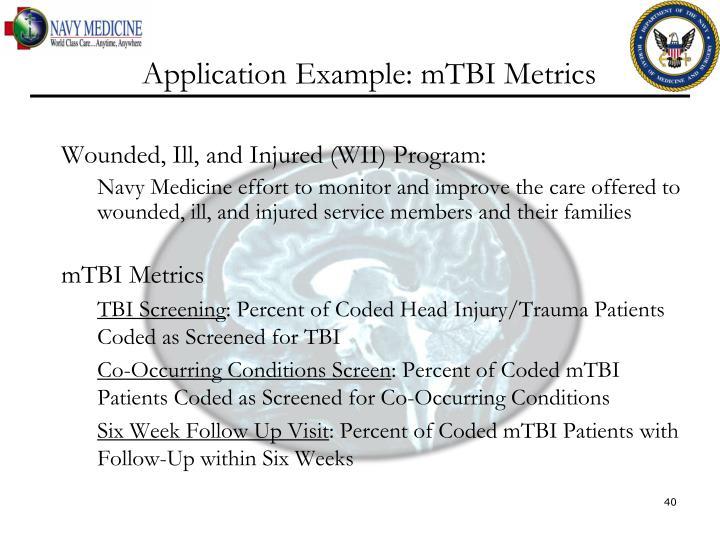 Application Example: mTBI Metrics