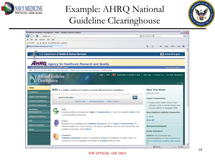 Example: AHRQ National Guideline Clearinghouse