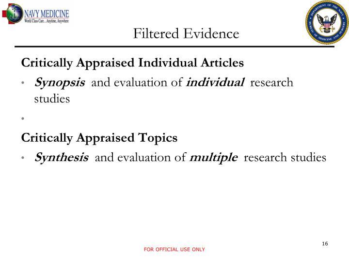 Filtered Evidence