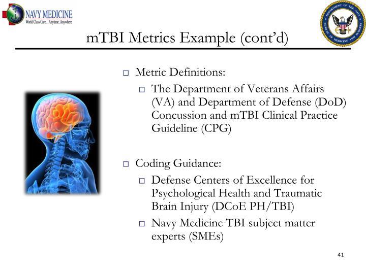 mTBI Metrics Example (cont'd)