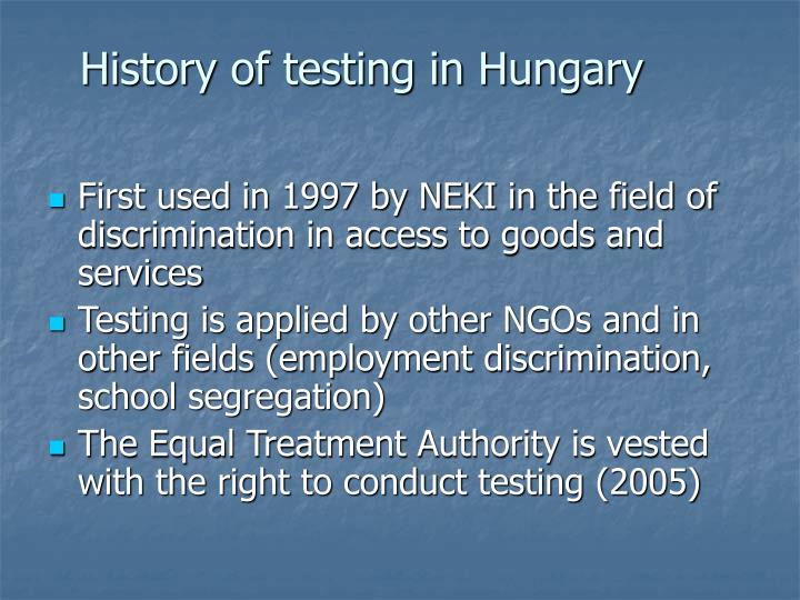 History of testing in hungary