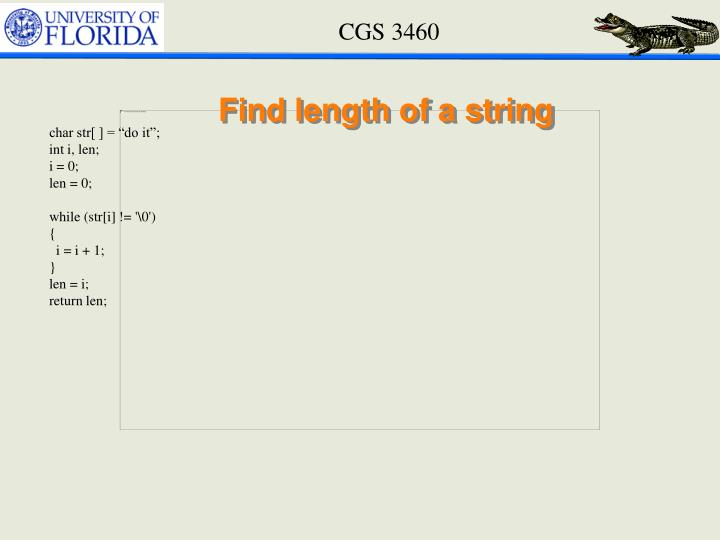 Find length of a string