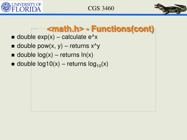 <math.h> - Functions(cont)