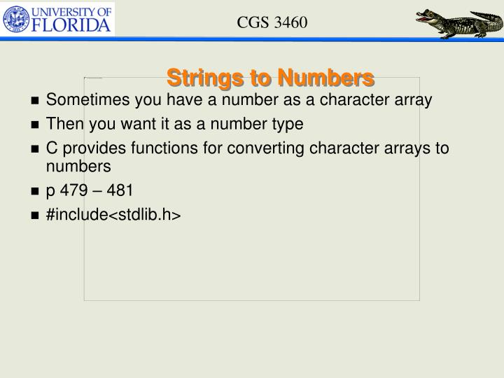 Strings to Numbers