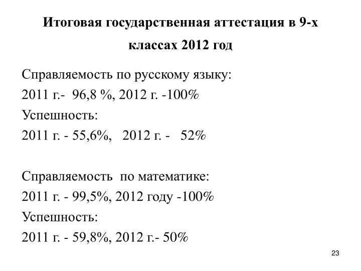 Итоговая государственная аттестация в 9-х классах 2012 год