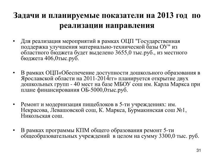 Задачи и планируемые показатели на 2013 год  по реализации направления