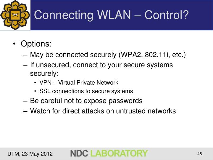 Connecting WLAN – Control?