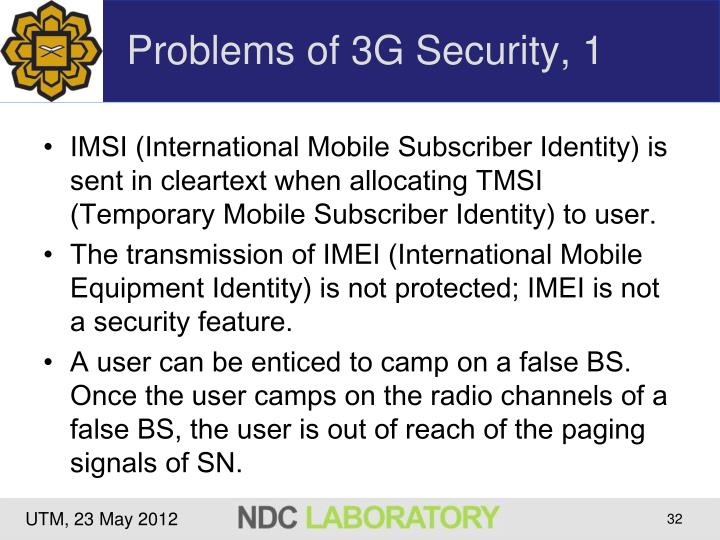 Problems of 3G Security, 1