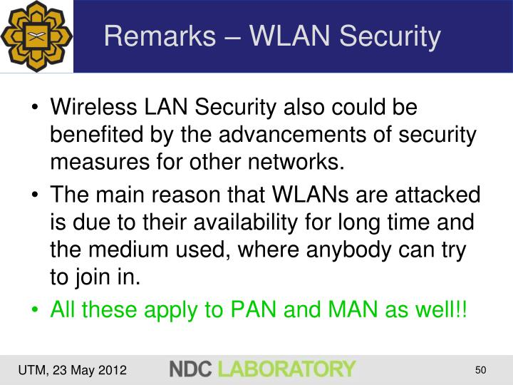 Remarks – WLAN Security