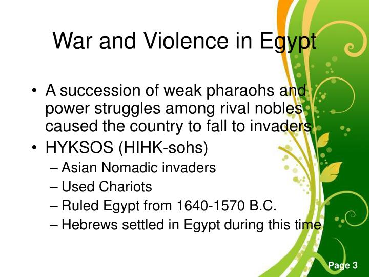 War and violence in egypt