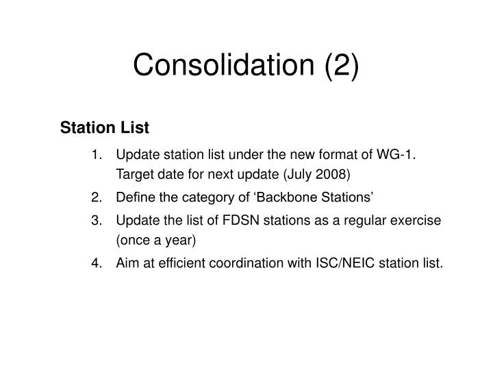 Consolidation (2)